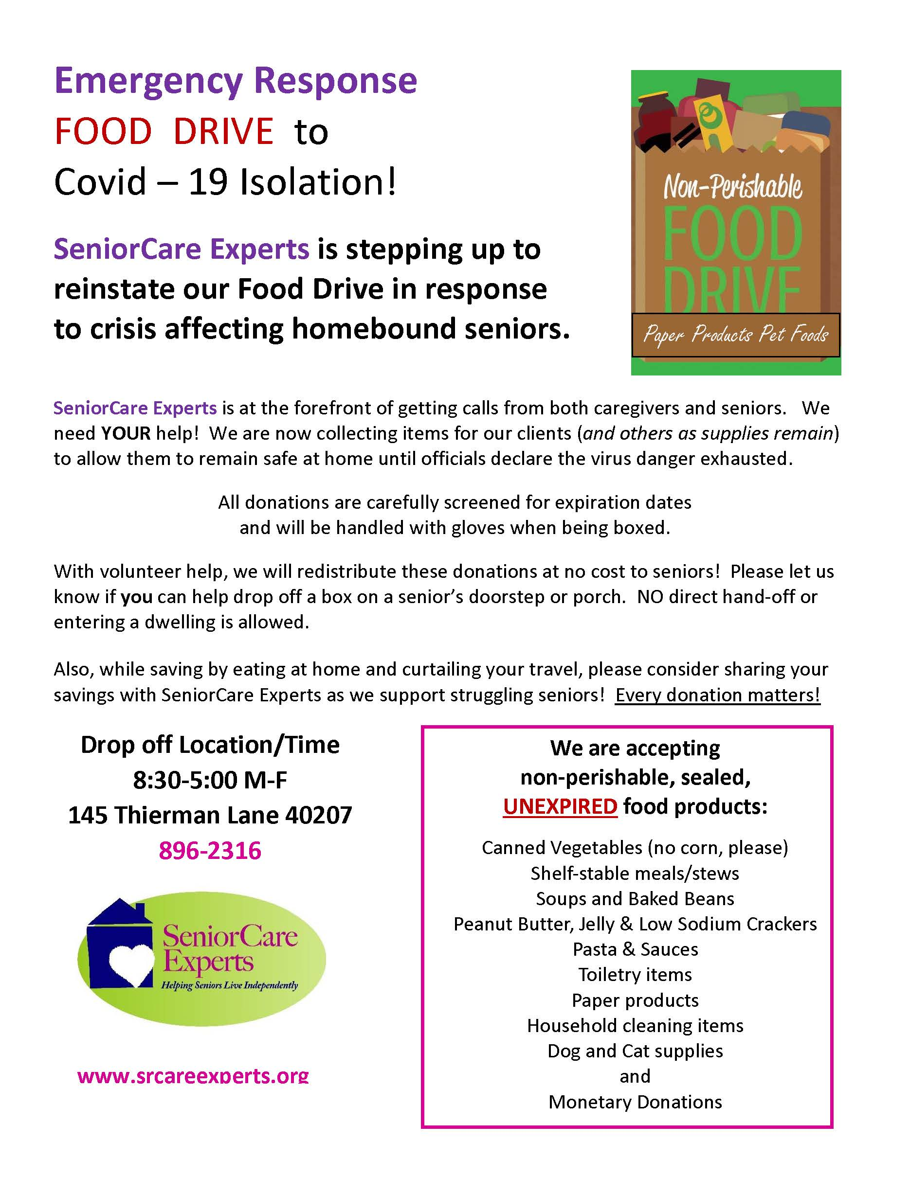 COVID Emergency Food Drive