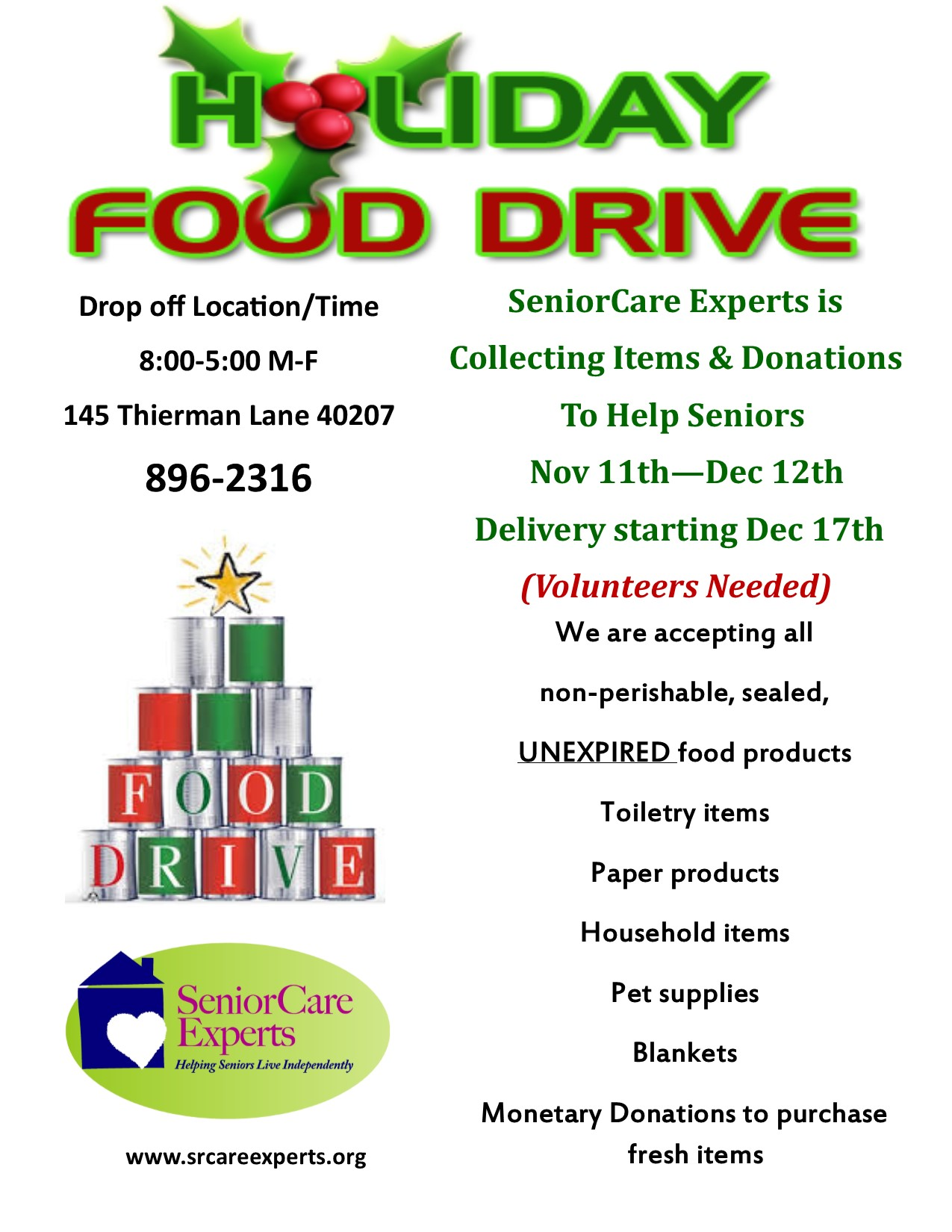 SeniorCare Experts Holiday Food Drive