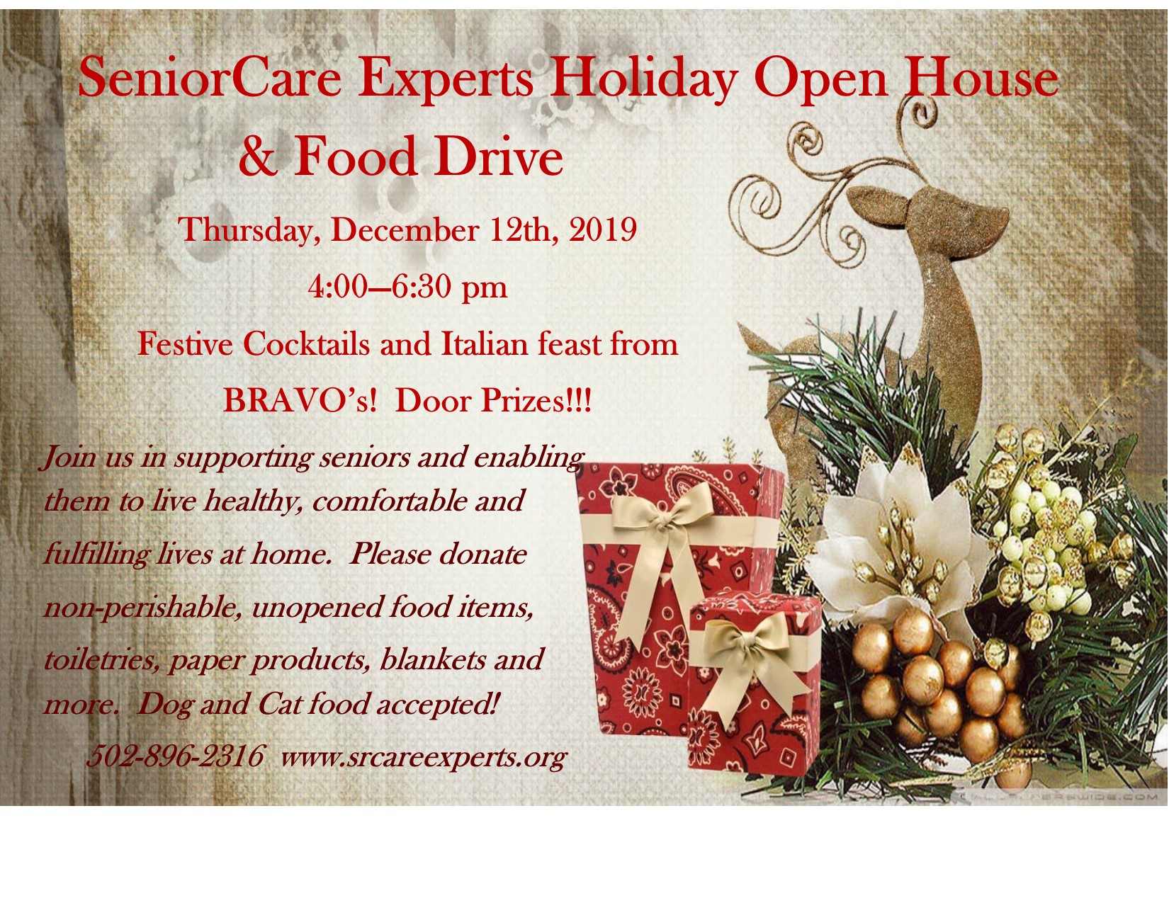 SeniorCare Experts Holiday Open House Flyer